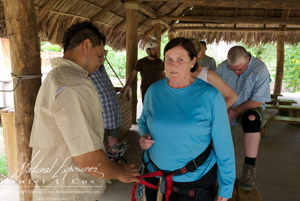 Carol isn't all that sure about the zip line ride but she does it anyway. Costa Rica.
