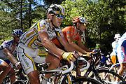 France, Bedoin, 25 July 2009: Kim Kirchen (Lux) Team Columbia - High Road and Juan Jose Oroz Ugalde (Spa) Euskaltel - Euskadi climb Mont Ventoux during Stage 20 - Montélimar to Mont Ventoux (167 km). Photo by Peter Horrell / http://peterhorrell.com .