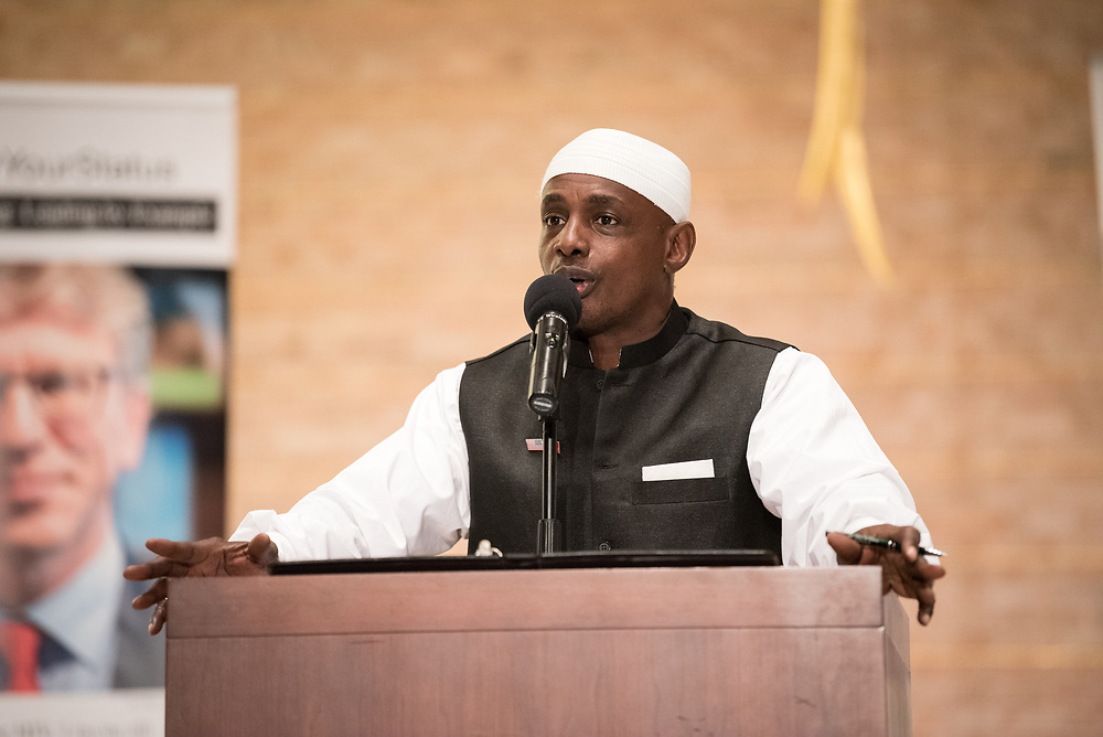 """12 September 2017, New York, USA: On 12 September, leaders from a variety of faiths and confessions gathered at the Interchurch Center Chapel in New York, for an interfaith prayer service on the theme """"Leading by Example: Faith and HIV Testing"""". Here, Imam Abdul Azeez."""