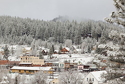 """""""Downtown Truckee 14"""" - Photograph of a snowy Downtown Truckee in the morning."""