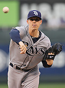 Tampa Bay Rays pitcher Jeremy Hellickson warms up in the first inning of a baseball game against the Kansas City Royals at Kauffman Stadium in Kansas City, Mo., Wednesday, May 1, 2013.  (AP Photo/Colin E. Braley).