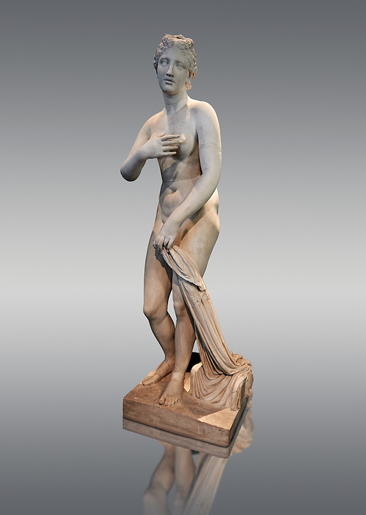 """1st Century BC statue of Aphordite by Menophantos. The casket of the sculpture is inscribed """" of the Aphrodite which is situated in the Troad (Troy) Menophantos made it"""". This sculpture depicts Aphrodite in the typical pose known as the Modest Aphrodite style and is a copy of a lost 4th century BC Aphrodite of Cnidos sculpture by Athenian sculpture Praxiteles. Capitoline Museums, Rome ..<br /> <br /> If you prefer to buy from our ALAMY STOCK LIBRARY page at https://www.alamy.com/portfolio/paul-williams-funkystock/greco-roman-sculptures.html . Type -    Capitoline    - into LOWER SEARCH WITHIN GALLERY box - Refine search by adding a subject, place, background colour, etc.<br /> <br /> Visit our ROMAN WORLD PHOTO COLLECTIONS for more photos to download or buy as wall art prints https://funkystock.photoshelter.com/gallery-collection/The-Romans-Art-Artefacts-Antiquities-Historic-Sites-Pictures-Images/C0000r2uLJJo9_s0"""