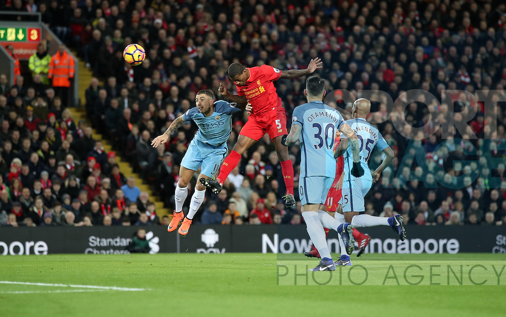 Georginio Wijnaldum of Liverpool  scoring during the English Premier League match at Anfield Stadium, Liverpool. Picture date: December 31st, 2016. Photo credit should read: Lynne Cameron/Sportimage