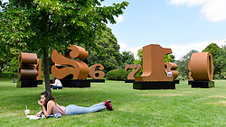 "© Licensed to London News Pictures. 03/07/2019. LONDON, UK. ""ONE Through ZERO"", 1980-2002, by Robert Indiana. Frieze Sculpture opens in Regent's Park, London's largest free display of outdoor art.  Works from 23 international artists are on display 3 July to 6 October 2019.  Photo credit: Stephen Chung/LNP"