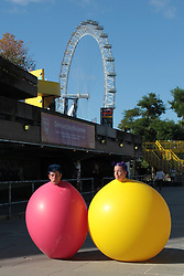 New York clown duo Acrobuffos performing part of Air Play, which will be performed as part of Southbank Centre's Festival of Love from August 9 to 14. The duo, Seth Bloom and Christina Gelsone, will be performing displays with flying umbrellas, balloons and kites.