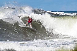 Leonardo Fioravanti of Italy advances to round 3 after placing first in round 2 heat 11 of the 2018 Hawaiian Pro at Haleiwa, Oahu, Hawaii, USA.