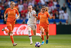 07-07-2019 FRA: Final USA - Netherlands, Lyon<br /> FIFA Women's World Cup France final match between United States of America and Netherlands at Parc Olympique Lyonnais. USA won 2-0 / Vivianne Miedema #9 of the Netherlands, Rose Lavelle #16 of the United States, Daniëlle van de Donk #10 of the Netherlands