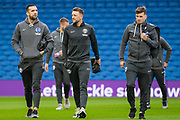 Shane Duffy (Brighton), Dale Stephens (Capt) (Brighton) & Pascal Gross (Brighton) arriving at the stadium ahead of the Premier League match between Brighton and Hove Albion and Leicester City at the American Express Community Stadium, Brighton and Hove, England on 23 November 2019.