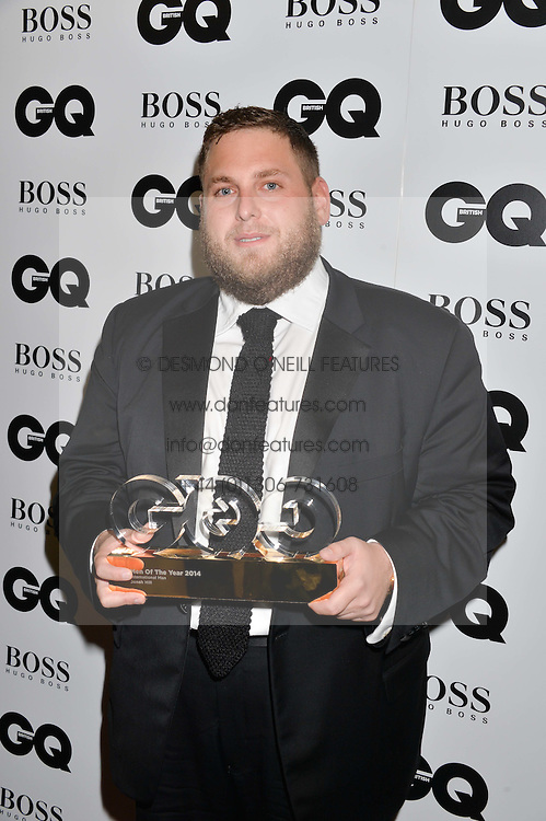 JONAH HILL winner of the International Man Award at the GQ Men Of The Year 2014 Awards in association with Hugo Boss held at The Royal Opera House, London on 2nd September 2014.