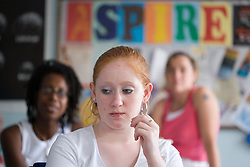 Young women in a parenting class; run by the Aspire Training Scheme for young mothers and mothers to be,