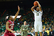 WACO, TX - JANUARY 24: Lester Medford #11 of the Baylor Bears shoots a three-pointer against the Oklahoma Sooners on January 24, 2015 at the Ferrell Center in Waco, Texas.  (Photo by Cooper Neill/Getty Images) *** Local Caption *** Lester Medford