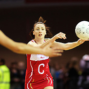 Jade Clarke, England, in action during the New Zealand V England, New World International Netball Series, at the ILT Velodrome, Invercargill, New Zealand. 6th October 2011. Photo Tim Clayton...