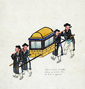 Korean Gama used by the privileged classes, a form of closed chair similar to a Palanquin, Litter or Sedan chair,  carried by porters. Watercolour, c1890. Transport Power Manual Fashion Dress Traditional