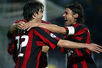 Siena 17/4/2004 Campionato Italiano Serie A <br />30a Giornata - Matchday 30 <br />Siena Milan 1-2 <br />Kaka e Paolo Maldini festeggiano per il gol della vittoria del Milan (1-2). <br /> Foto Graffiti