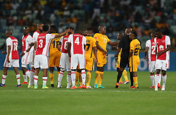 Willard Katsande of Kaizer Chiefs gets a yellow card from Referee Kulasande Qongqo during the 2016 Premier Soccer League match between Kaizer Chiefs and Ajax Cape Town held at the Moses Mabhida Stadium in Durban, South Africa on the 24th September 2016<br /> <br /> Photo by:   Steve Haag / Real Time Images