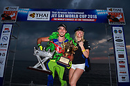 PATTAYA, THAILAND - DECEMBER 09: Mark Gomez of USA and Rickter with his wife on the podium with the King's Cup after the Royal Trophy presentation for the Pro Freestyle second run at the Thai Airways International Jet Ski World Cup 2018, Jomtien Beach, Pattaya, Thailand on December 09, 2018. <br /> .<br /> .<br /> .<br /> (Photo by: Naratip Golf Srisupab/SEALs Sports Images)<br /> .<br /> Any image use must include a mandatory credit line adjacent to the content which should read: Naratip Golf Srisupab/SEALs Sports Images