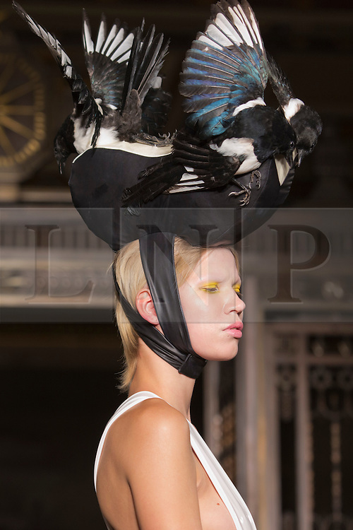 © Licensed to London News Pictures. 16/09/2013. London, England. Pam Hogg off-schedule catwalk show during London Fashion Week at Fashion Scout/Freemason's Hall. Photo credit: Bettina Strenske/LNP