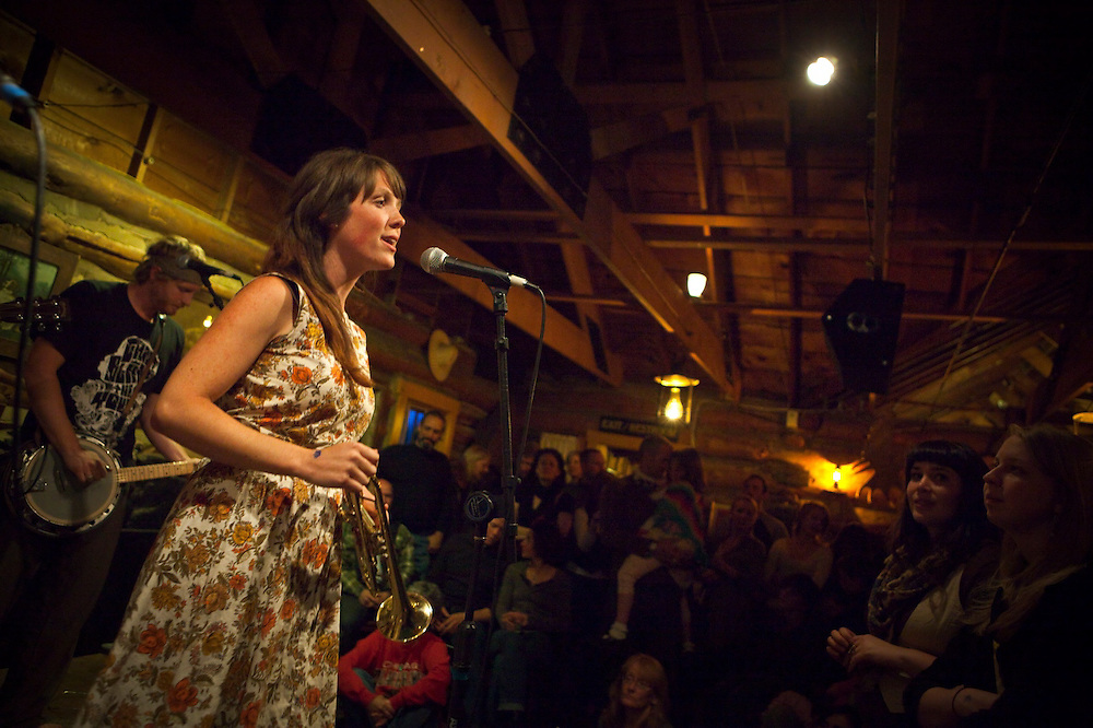 Sarah Anderson, with the indie folk band Paper Bird, performs at the intimate Gold Hill Inn in Gold Hill, Colorado.