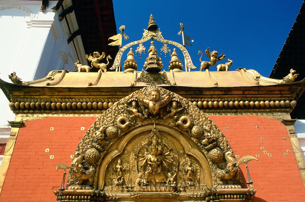 Ornate carvings on Golden Gate in Bhaktapur, Nepal