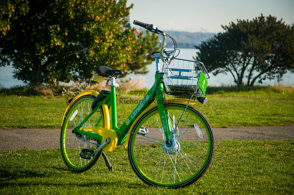 2017 NOVEMBER 06 - A LimeBike bike near Alki Beach, Seattle, WA, USA. By Richard Walker