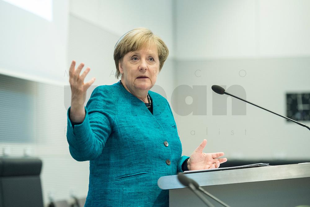 """24 APR 2017, BERLIN/GERMANY:<br /> Angela Merkel, CDU, Bundeskanzlerin, 9. Energiepolitischer Dialog der CDU/CSU-Fraktion im Deutschen Bundestag """"Spannungsfeld Energiewende - Die Energiewende wirtschaftlich gestalten"""", Fraktionssitzungssaal, Deutscher Bundestag<br /> IMAGE: 20170424-01-148"""