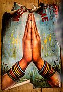 Namaste poster, welcome to Nepal, Larjung, Annapurna, Nepal Himalaya