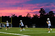 Quarterbacks run drills during the first practice of the season for the South Burlington/Burlington Seawolves at South Burlington High School on Monday evening August 13, 2018 in South Burlington. (BRIAN JENKINS/for the FREE PRESS)