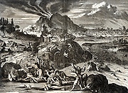 Earthquake of 1650 at Tokyo (Yedo), Japan. After engraving published Amsterdam 1669