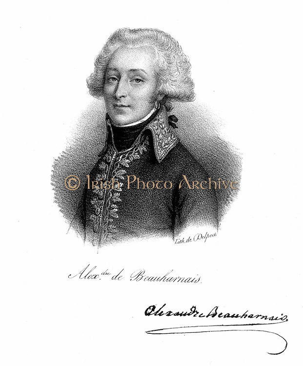 Alexandre, Vicomte de Beauharnais (1760-1794) French soldier; in the French Revolution he was arrested as an aristocratic 'suspect'; guillotined 1793; first husband of Empress Josephine, wife of Napoleon I. Lithograph