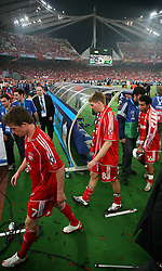 Athens, Greece - Wednesday, May 23, 2007: Liverpool's Harry Kewell, Steven Gerrard and Jermaine Pennant walks out of the pitch dejected after losing 2-1 to AC Milan during the UEFA Champions League Final at the OACA Spyro Louis Olympic Stadium. (Pic by David Rawcliffe/Propaganda)