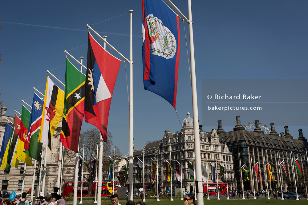 The flags of Commonwealth Nations hang in Parliament Square on the occasion of the bi-annual Commonwealth Heads of Government Meeting (CHOGM),  on 19th April 2018, in London, England.