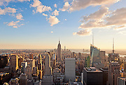 Aerial view of Midtown Manhattan skyline featuring the Empire State Building from Top of the Rock, New York City.