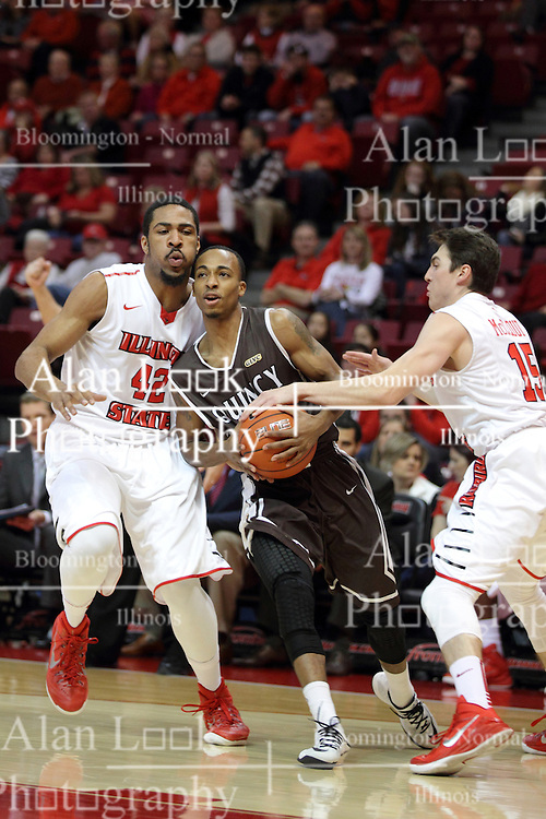 29 December 2014:  Ja'mil Jones, Will Ransom, Justin McCloud during an NCAA non-conference interdivisional exhibition game between the Quincy University Hawks and the Illinois State University Redbirds at Redbird Arena in Normal Illinois.