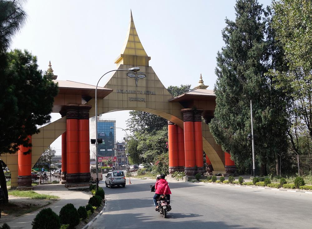 Entrance to Tribhuvan International Airport, Kathmandu, Nepal.