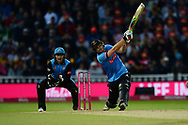 Luke Wright of Sussex hits a six during the final of the Vitality T20 Finals Day 2018 match between Worcestershire Rapids and Sussex Sharks at Edgbaston, Birmingham, United Kingdom on 15 September 2018.
