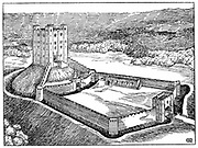 Scheme of a Norman castle based on Castle Hedingham, Essex, England, showing the enclosed fortified courtyard leading, via drawbridge and gateway, to fortified castle on raised mound, all surrounded by defensive moat. Wood engraving
