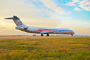 A McDonnell Douglas MD-83 operated by American Airlines taxis by at Hartsfield Jackson Atlanta International Airport.