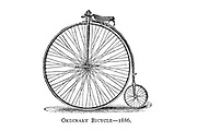 Ordinary high wheel bicycle 1886 From Wheels and Wheeling; An indispensable handbook for cyclists, with over two hundred illustrations by Porter, Luther Henry. Published in Boston in  1892