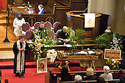 14 April 2012-Santa Barbara, CA: Rev. Hilary Chrisley, First United Methodist Chruch.  Babatunde Folayemi Memorial Service at First United Methodist Church, 305 East Anapamu Street, Santa Barbara, CA.  Family and friends gathered  immediately following the service for refreshments and sharing in the Fellowship Hall of the church.  <br />