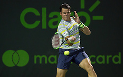 March 28, 2018 - Key Biscayne, Florida, United States - Milos Raonic, from Canada, in action against Juan Martin Del Potro, from Argentina, during his quarter final match at the Miami Open. Del Potro defeated Raonic 5-7, 7-6(1), 7-6(3) in Miami, on March 28, 2018. (Credit Image: © Manuel Mazzanti/NurPhoto via ZUMA Press)