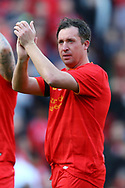 Robbie Fowler of Liverpool legends team shows his appreciation to the fans at the end of the game. Liverpool Legends  v Real Madrid Legends, Charity match for the LFC Foundation at the Anfield stadium in Liverpool, Merseyside on Saturday 25th March 2017.<br /> pic by Chris Stading, Andrew Orchard sports photography.