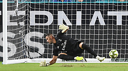 July 31, 2018 - Miami Gardens, FL, USA - Goalkeeper Francisco Casilla of Real Madrid cannot stop a shot by Ander Herrera of Manchester United in the first half during International Champions Cup action at Hard Rock Stadium in Miami Gardens, Fla., on Tuesday, July 31, 2018. Manchester United won, 2-1. (Credit Image: © Jim Rassol/TNS via ZUMA Wire)