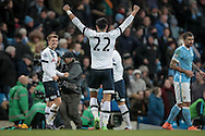 Nacer Chadli (Tottenham Hotspur) celebrates the win after the Barclays Premier League match between Manchester City and Tottenham Hotspur at the Etihad Stadium, Manchester, England on 14 February 2016. Photo by Mark P Doherty.