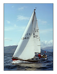 The Clyde Cruising Club's 1977 Tomatin Trophy the first Scottish Series held at Tarbert Loch Fyne.  An overnight race from Gourock to Campbeltown then on to Olympic Triangles in Loch Fyne. ..K3421  Ryandry   G  Paterson