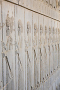 Bearded Persian Soldier Bas reliefs in Persepolis, the ceremonial capital of the Persian Empire (550-330 BC) during the Achaemenid dynasty. Persepolis, Iran