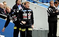 Fotball<br /> Tippeligaen Eliteserien<br /> 10.08.08<br /> Ullevaal Stadion<br /> FC Lyn Oslo - Lillestrøm LSK<br /> Desperasjon på LSK - benken ved trener ne Frode Grodås og Erland Johnsen<br /> Foto - Kasper Wikestad