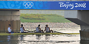 Shunyi, CHINA. GBR M4-, Bow Tom JAMES, Steve WILLIAMS, Peter REED and Andy TRIGGS HODGE, move into position for the start  of there heat of the men's four at the 2008 Olympic Regatta,  Saturday, 09.08.2008  [Mandatory Credit: Peter SPURRIER, Intersport Images]
