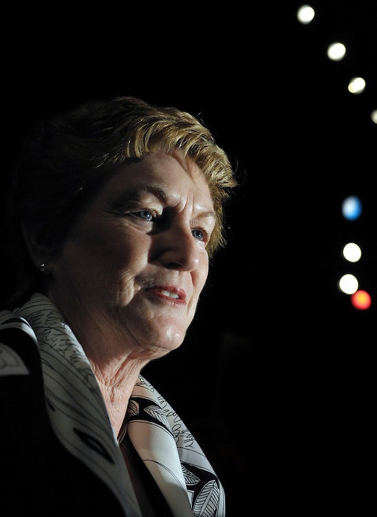 Connecticut governor M. Jodi Rell speaks to the media after the swearing in of New Britain Mayor Timothy Stewart, in New Britain, Conn. Connecticut political observers say Republican Gov. M. Jodi Rell's announcement that she won't seek re-election may give Democrats a chance to win back the seat.