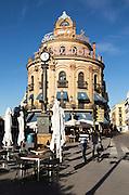 El Gallo Azul rotunda cafe building in central built in 1929 advertising Fundador brandy, Jerez de la Frontera, Spain