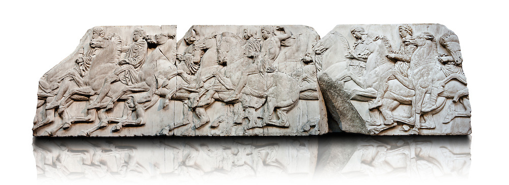 Marble Releif Sculptures from the frieze around the Parthenon Block XLII to XLIV 115 to 124  . From the Parthenon of the Acropolis Athens. A British Museum Exhibit known as The Elgin Marbles .<br /> <br /> If you prefer to buy from our ALAMY STOCK LIBRARY page at https://www.alamy.com/portfolio/paul-williams-funkystock/greco-roman-sculptures.html . Type -    Elgin    - into LOWER SEARCH WITHIN GALLERY box - Refine search by adding a subject, place, background colour, etc.<br /> <br /> Visit our ROMAN WORLD PHOTO COLLECTIONS for more photos to download or buy as wall art prints https://funkystock.photoshelter.com/gallery-collection/The-Romans-Art-Artefacts-Antiquities-Historic-Sites-Pictures-Images/C0000r2uLJJo9_s0